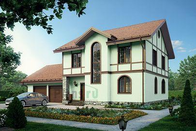 Проект двухэтажного дома с цоколем 19x16 метров, общей площадью 283 м2, из керамических блоков, c гаражом, бассейном, котельной и кухней-столовой