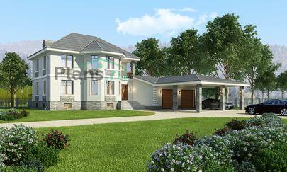 Проект двухэтажного дома с цоколем 19x22 метров, общей площадью 279 м2, из газобетона (пеноблоков), c гаражом, террасой, котельной и кухней-столовой