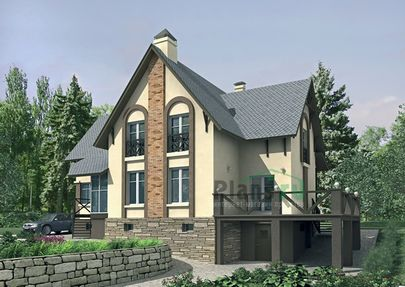 Проект двухэтажного дома с цоколем 19x8 метров, общей площадью 248 м2, из газобетона (пеноблоков), c зимним садом, террасой, котельной и кухней-столовой