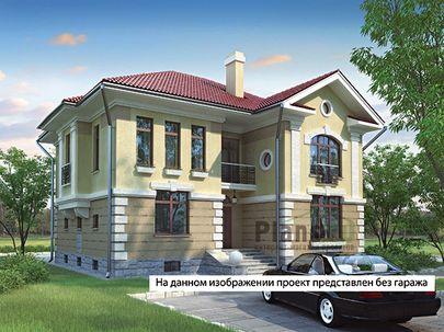 Проект двухэтажного дома с цоколем 21x11 метров, общей площадью 367 м2, из керамических блоков, c гаражом, террасой, котельной и кухней-столовой