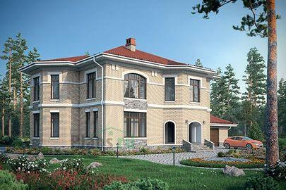 Проект двухэтажного дома с цоколем 22x17 метров, общей площадью 370 м2, из керамических блоков, c гаражом, котельной и кухней-столовой