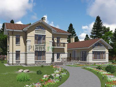 Проект двухэтажного дома с цоколем 24x17 метров, общей площадью 350 м2, из керамических блоков, c террасой, котельной и кухней-столовой