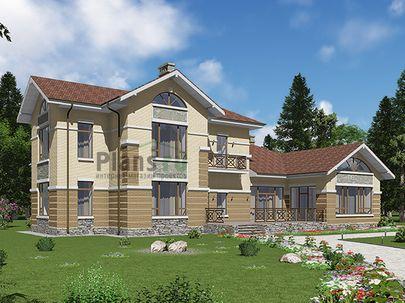 Проект двухэтажного дома с цоколем 24x17 метров, общей площадью 362 м2, из керамических блоков, c бассейном, террасой, котельной и кухней-столовой