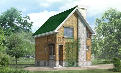 Проект двухэтажного дома с цоколем 7x8 метров, общей площадью 135 м2, из керамических блоков, c кухней-столовой