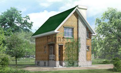 Проект двухэтажного дома с цоколем 7x8 метров, общей площадью 135 м2, из кирпича, c кухней-столовой