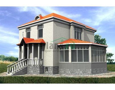 Проект двухэтажного дома с цоколем 7x9 метров, общей площадью 225 м2, из газобетона (пеноблоков), c котельной и кухней-столовой