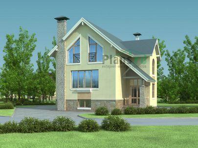 Проект двухэтажного дома с цоколем 8x13 метров, общей площадью 191 м2, из кирпича, c террасой и кухней-столовой