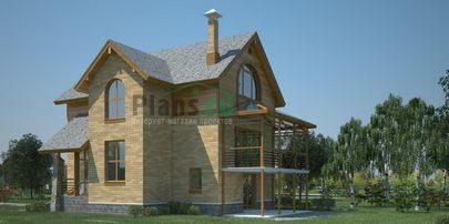Проект двухэтажного дома с цоколем 8x13 метров, общей площадью 192 м2, из керамических блоков, c гаражом, террасой и кухней-столовой