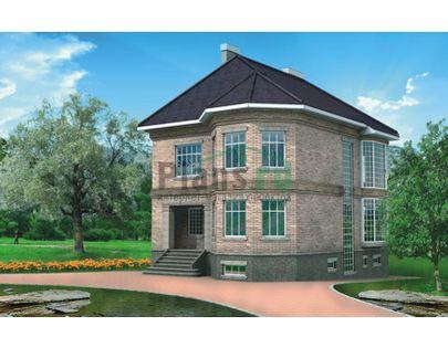 Проект двухэтажного дома с цоколем 9x10 метров, общей площадью 251 м2, из керамических блоков, c террасой, котельной и кухней-столовой