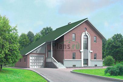 Проект двухэтажного дома с цоколем 9x13 метров, общей площадью 227 м2, из газобетона (пеноблоков), c гаражом, террасой и кухней-столовой