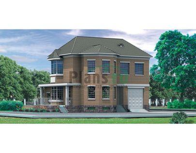 Проект двухэтажного дома с цоколем 9x13 метров, общей площадью 291 м2, из керамических блоков, c гаражом, террасой и котельной