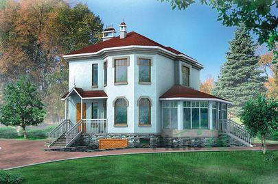 Проект двухэтажного дома с цоколем 9x7 метров, общей площадью 229 м2, из газобетона (пеноблоков), c гаражом, котельной и кухней-столовой