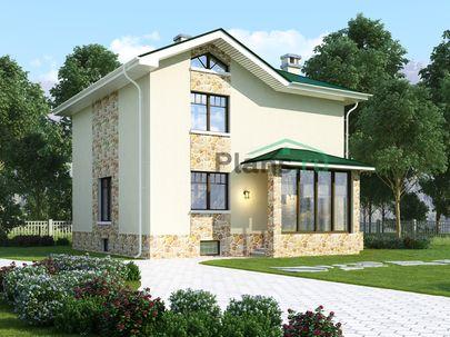 Проект двухэтажного дома с цоколем 9x9 метров, общей площадью 198 м2, из керамических блоков, c террасой, котельной и кухней-столовой