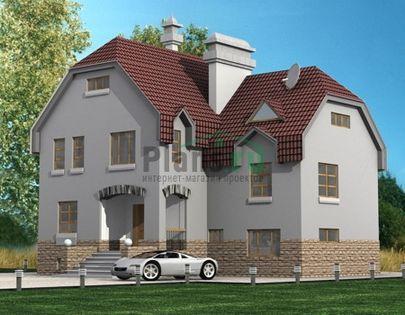 Проект двухэтажного дома с цоколем и мансардой 12x10 метров, общей площадью 250 м2, из газобетона (пеноблоков), c гаражом, бассейном, террасой и котельной
