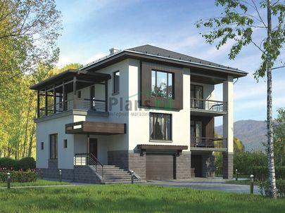 Проект двухэтажного дома с цоколем и мансардой 14x14 метров, общей площадью 330 м2, из керамических блоков, c гаражом, террасой, котельной и кухней-столовой