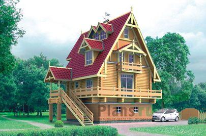 Проект двухэтажного дома с цоколем и мансардой 7x8 метров, общей площадью 142 м2, комбинированного типа, c гаражом, террасой и котельной