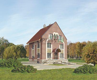 Проект двухэтажного дома с цоколем и мансардой 8x11 метров, общей площадью 360 м2, из керамических блоков, со вторым светом, c гаражом, бассейном, террасой и котельной
