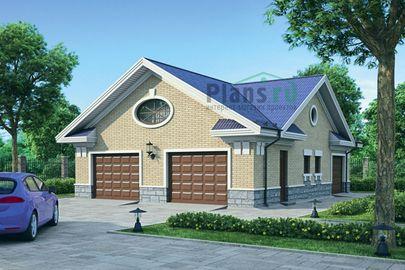 Проект гаража 11x9 метров, общей площадью 83 м2, из кирпича, c гаражом