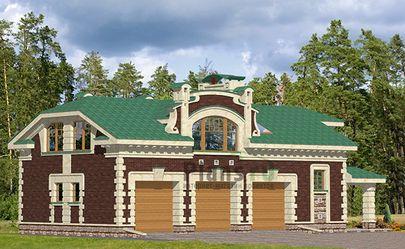 Проект гаража 15x7 метров, общей площадью 190 м2, из кирпича, c гаражом, террасой и котельной