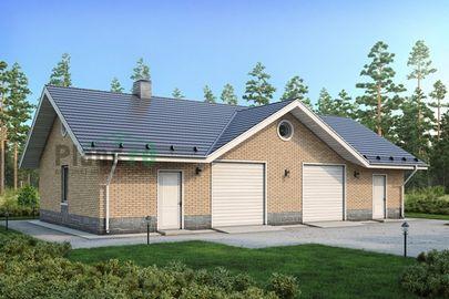 Проект гаража 15x8 метров, общей площадью 100 м2, из кирпича, c гаражом и котельной