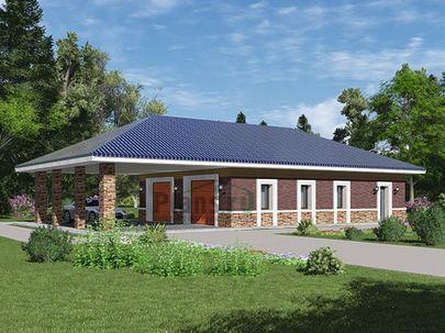 Проект гаража 20x10 метров, общей площадью 106 м2, из кирпича, c гаражом