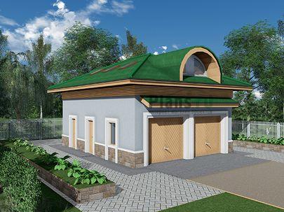 Проект гаража 9x7 метров, общей площадью 108 м2, из кирпича, c гаражом