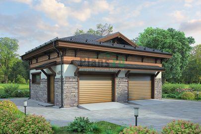 Проект гаража 9x8 метров, общей площадью 116 м2, из кирпича, c гаражом