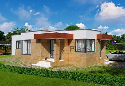 Проект одноэтажного дома 10x16 метров, общей площадью 110 м2, из газобетона (пеноблоков), c гаражом, котельной и кухней-столовой