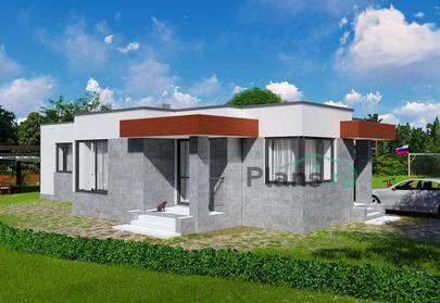 Проект одноэтажного дома 10x16 метров, общей площадью 110 м2, из кирпича, c гаражом, котельной и кухней-столовой