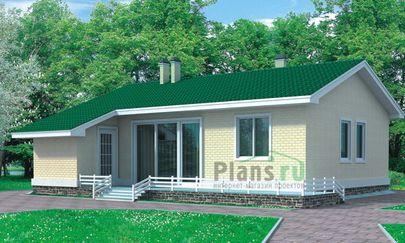 Проект одноэтажного дома 10x9 метров, общей площадью 53 м2, из газобетона (пеноблоков), c террасой