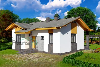 Проект одноэтажного дома 10x9 метров, общей площадью 65 м2, из газобетона (пеноблоков), c террасой, котельной и кухней-столовой