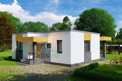 Проект одноэтажного дома 10x9 метров, общей площадью 65 м2, из керамических блоков, c террасой, котельной и кухней-столовой