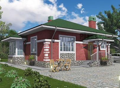 Проект одноэтажного дома 10x9 метров, общей площадью 79 м2, из кирпича, c котельной и кухней-столовой