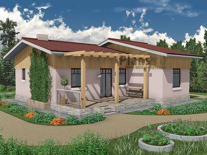 Проект одноэтажного дома 11x10 метров, общей площадью 76 м2, из газобетона (пеноблоков), c террасой и кухней-столовой
