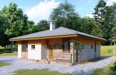 Проект одноэтажного дома 11x11 метров, общей площадью 88 м2, из газобетона (пеноблоков), c террасой, котельной и кухней-столовой