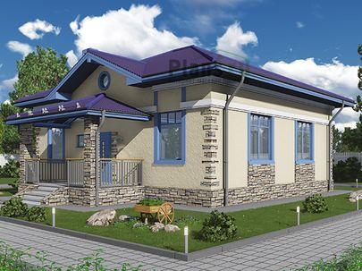 Проект одноэтажного дома 11x11 метров, общей площадью 92 м2, из газобетона (пеноблоков), c террасой, котельной и кухней-столовой