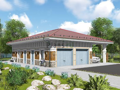 Проект одноэтажного дома 11x13 метров, общей площадью 77 м2, из керамических блоков, c гаражом и котельной