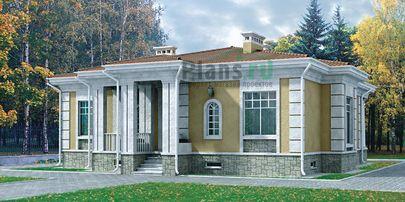 Проект одноэтажного дома 11x15 метров, общей площадью 121 м2, из кирпича, c террасой и котельной