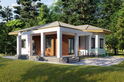 Проект одноэтажного дома 12x10 метров, общей площадью 92 м2, из газобетона (пеноблоков), c террасой, котельной и кухней-столовой