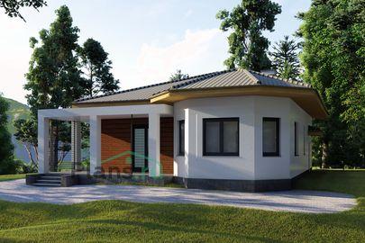 Проект одноэтажного дома 12x10 метров, общей площадью 92 м2, из керамических блоков, c террасой, котельной и кухней-столовой