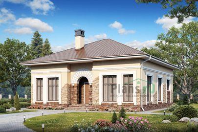 Проект одноэтажного дома 12x12 метров, общей площадью 107 м2, из газобетона (пеноблоков), c котельной