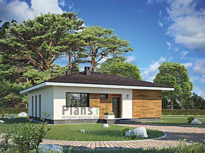 Проект одноэтажного дома 12x12 метров, общей площадью 111 м2, из газобетона (пеноблоков), c террасой, котельной и кухней-столовой
