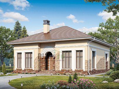 Проект одноэтажного дома 12x12 метров, общей площадью 115 м2, из кирпича, c котельной и кухней-столовой