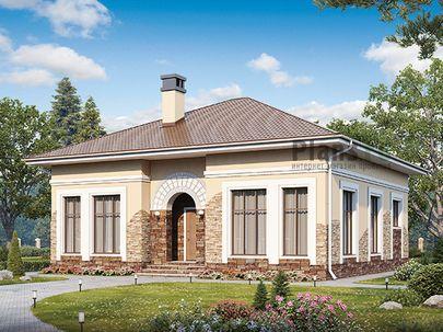 Проект одноэтажного дома 12x12 метров, общей площадью 121 м2, из кирпича, c котельной и кухней-столовой