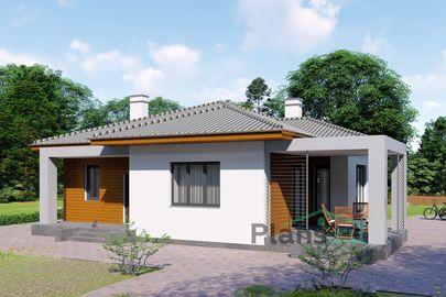 Проект одноэтажного дома 12x13 метров, общей площадью 102 м2, из газобетона (пеноблоков), c террасой, котельной и кухней-столовой