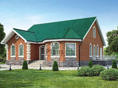 Проект одноэтажного дома 12x13 метров, общей площадью 129 м2, из кирпича, c террасой, котельной и кухней-столовой