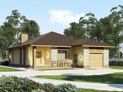 Проект одноэтажного дома 12x16 метров, общей площадью 124 м2, из керамических блоков, c гаражом, террасой, котельной и кухней-столовой