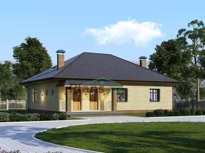 Проект одноэтажного дома 13x10 метров, общей площадью 125 м2, из газобетона (пеноблоков), c террасой, котельной и кухней-столовой