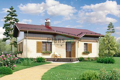 Проект одноэтажного дома 13x10 метров, общей площадью 75 м2, из кирпича, c кухней-столовой