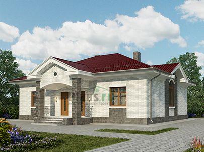 Проект одноэтажного дома 13x11 метров, на две семьи, общей площадью 114 м2, из газобетона (пеноблоков), c котельной и кухней-столовой